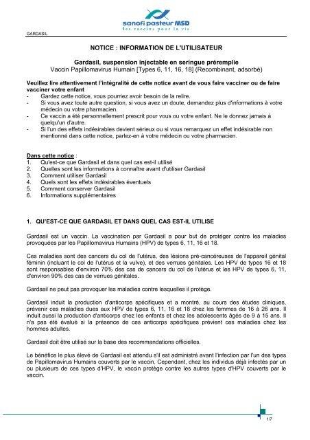 vaccin papillomavirus notice
