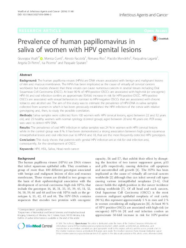 human papillomavirus infection saliva paraziti intestinali uleiuri esentiale