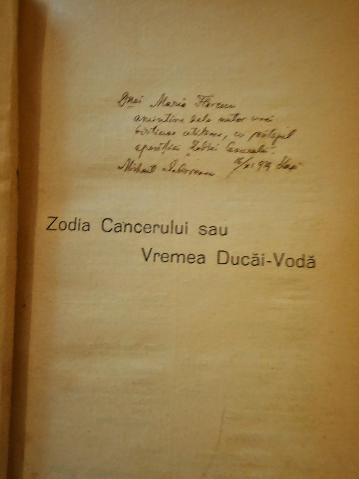 Rezumat - Zodia Cancerului sau Vremea Ducai Voda referat
