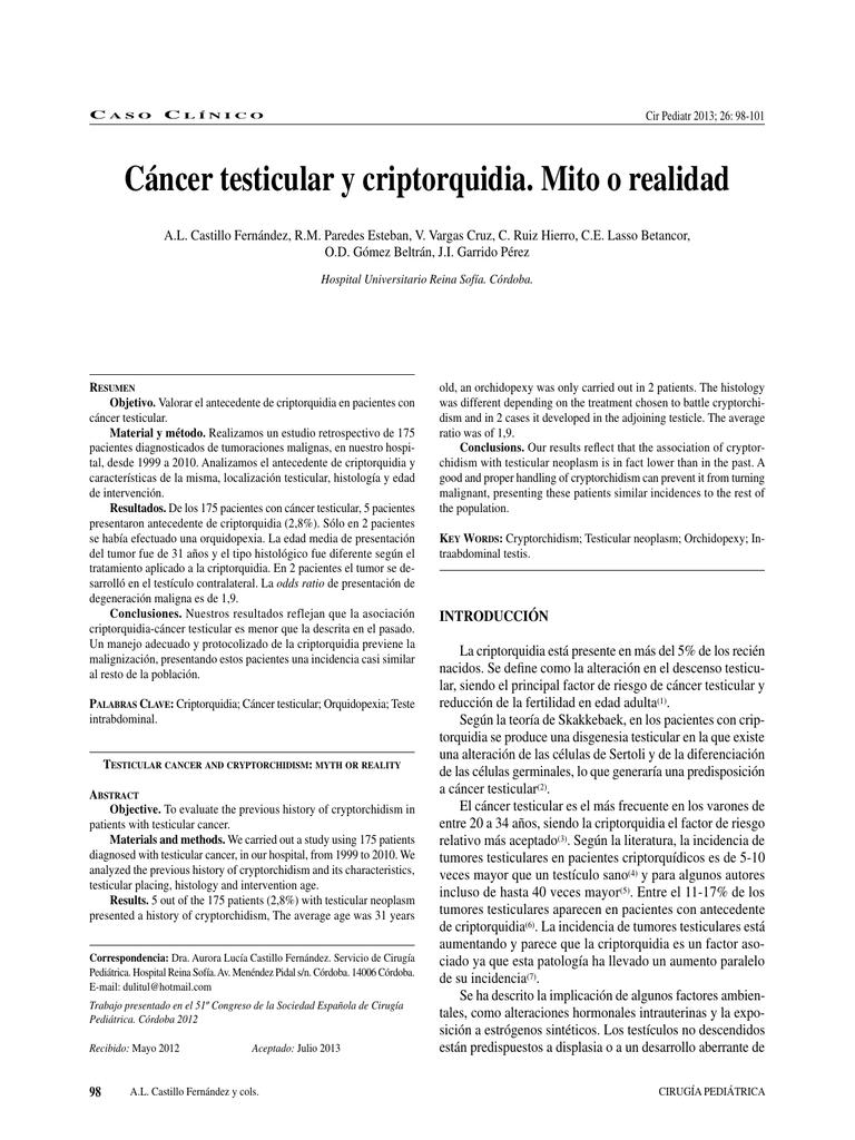cancer testicular y criptorquidia virus del papiloma humano sintomas en la piel