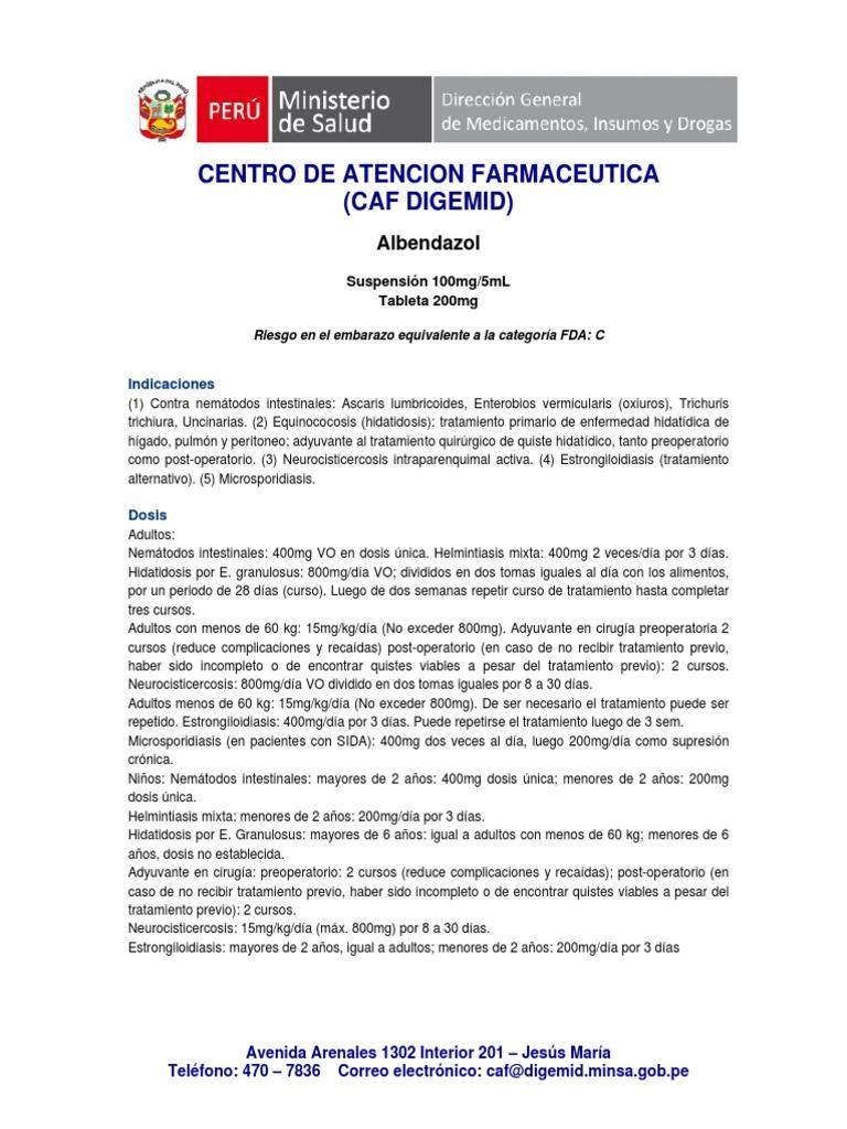 tratamiento con albendazol para oxiuros gola con papilloma virus