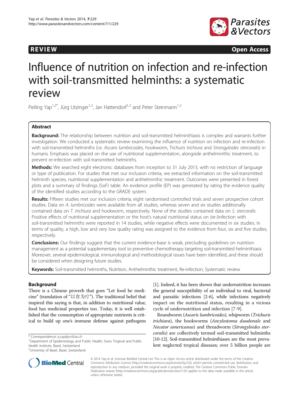 helminth infection systematic review human papillomavirus induced warts