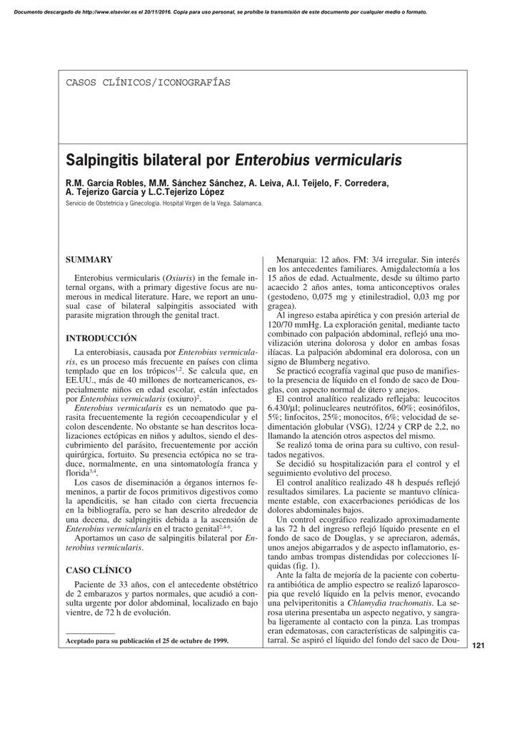 enterobius vermicularis caso clinico cancerul pulmonar cauze