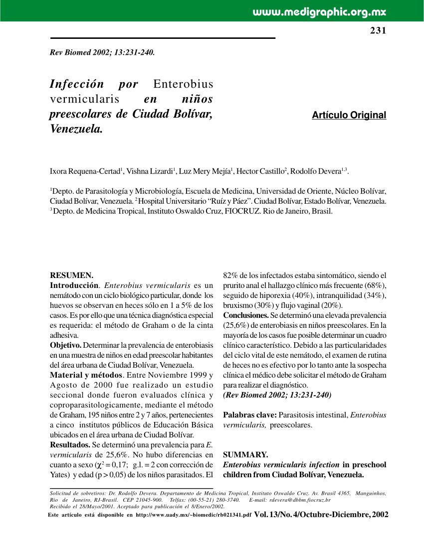 enterobius vermicularis articulo cancer au feminin