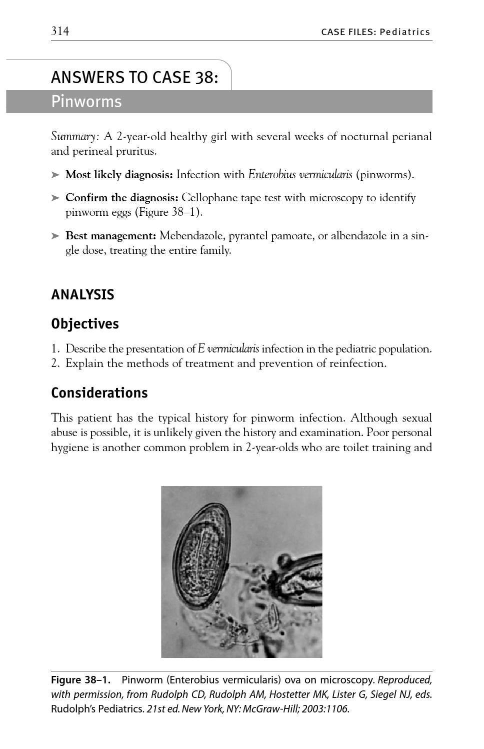 enterobius vermicularis treatment pediatric